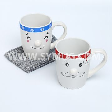 12 oz snow man ceramic coffee mugs