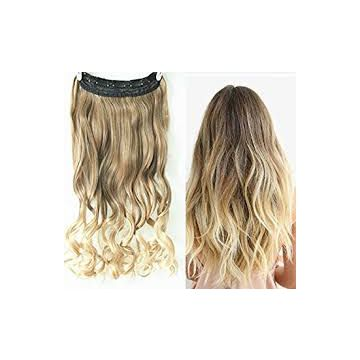 Brown Synthetic Hair 100% Human Hair Extensions Straight Wave