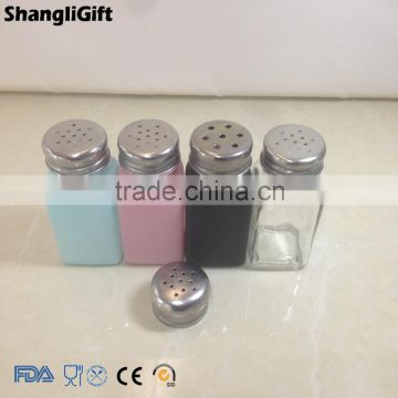New Design Colored Square Glass Spice Jar Bottles With Screw Cap