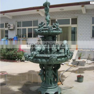 customized outdoor large bronze cherub fountain NTBF-L374S