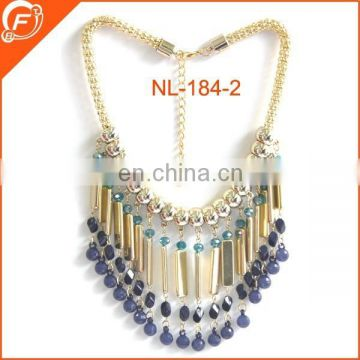 fashion glass stone beaded necklace with metal chian for lady's dressing