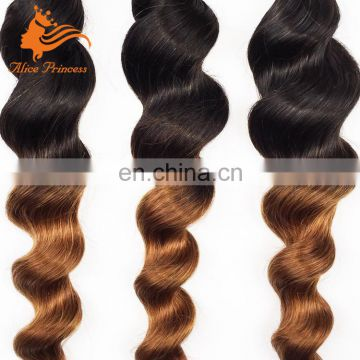 Aliexpress Malaysian Hair Bundles Ombre Two Tone Color Hair Weave Loose Wave Virgin Human Hair Attachment