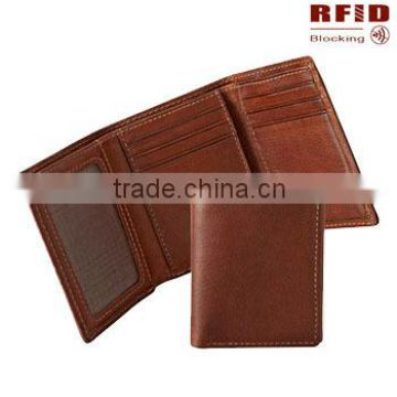 Top grain leather trifold RFID blocking secure wallet in tan color