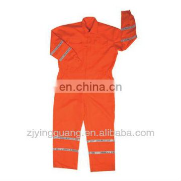 100% Cotton Twill Fabric Safety Work Coverall With Reflective Tape