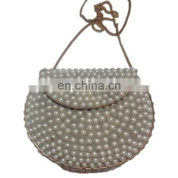 PEARL DECORATION METAL CLUTCH BAG,