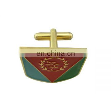 custom zinc alloy gold soft enamel cufflink with logo