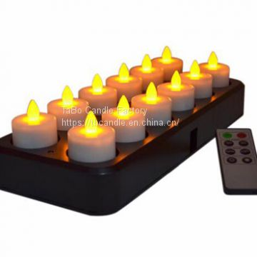 12Pcs Wireless Inductive Rechargeable LED Electric Tealight Candles Flameless Flickering Tea Lights with Remote Timer