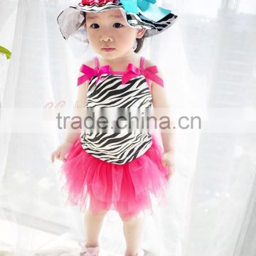 New Fashion Girls Strap Skirt Suit Lovely Zebra Pattern Two Pcs European Style Cotton Lace TUTU Dress Girls Skirt Set