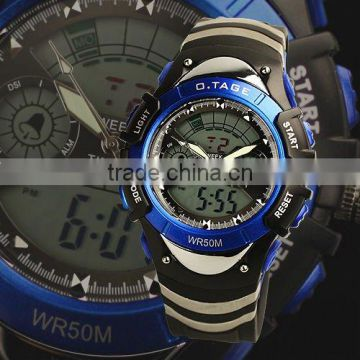 WS004 Brand New Mens Blue Brezel Rubber Band Analog Digital Dual Dial Luxury Sport Wrist Watch