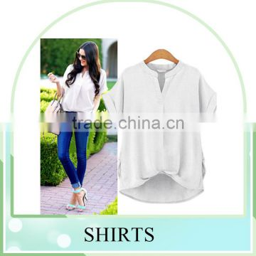 Hot sales European Plus size summer cool cotton solid color shirts for women blusa