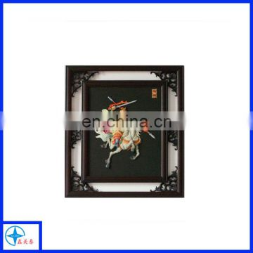 Wall hanging wooden frame, decorative frame with resin figure relief