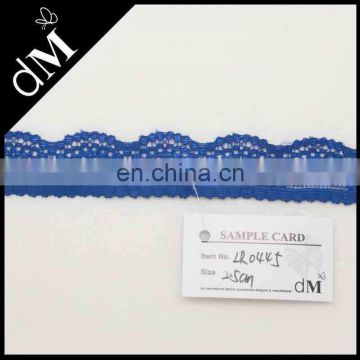 Magnetic scalloped elastic blue lace trim for dress
