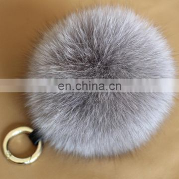 Handmade colorful fox fur pom pom keychain