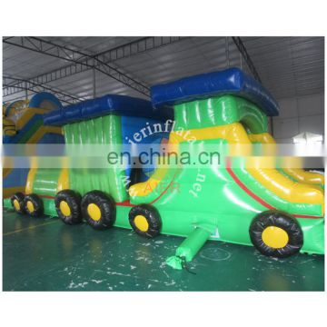 Newly train shape inflatable obstacle course, green color little train inflatable obstacle, train inflatable tunnel obstacle