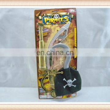 Kids Plastic Pirate play set hook sword telescope pirate toy