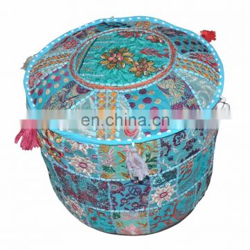 Designer Indian Handmade Home Decor Embroidery Work Ottoman Cotton Pouf Cover Patchwork Living Room Ottoman Cover wholesale Lot