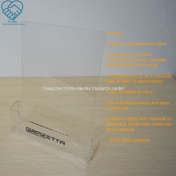 High Quality Display Premium Vertical A5 Acrylic Sign Holder 6 x 8 Inches Table Standing Acrylic Price Label Holder