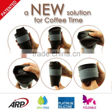 Eco-friendly silicone folding coffee mug