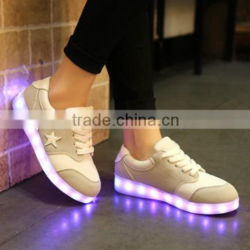 Manufactur direct sale lace-up led light colorful USB charge running shoes for dancing party