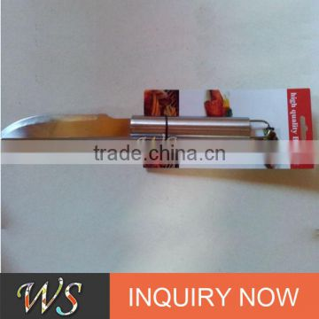 304stainless steel material bbq knife with stainless steel metal handle and hook hole for hanging