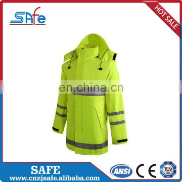 Wholesale pvc high visibility adult reflective safety raincoat jacket