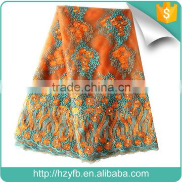 2016 New designs custom beaded 3d follower bridal lace embroidery fabric dubai wholesale french lace fabric for wedding dress