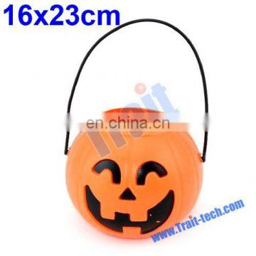Portable Plastic Pumpkin Bucket for Halloween Decoration (16x23cm)