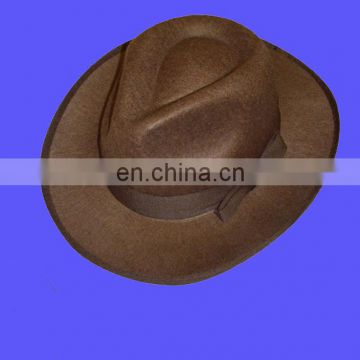 Hot selling explorer hat fancy dress brown felt trilby optional bull whip western safari