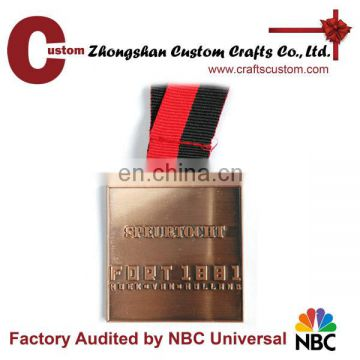 Factory custom zinc alloy material antique copper plated metal medal