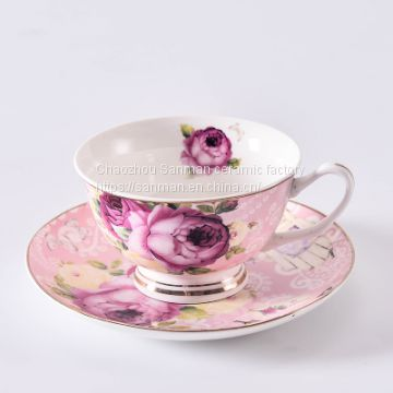 Wholesale ceramics hotel top quality luxury afternoon tea cup with saucer in color design from china