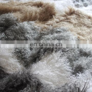 CUSTOMIZED REAL TIBETAN FUR MONGOLIAN LAMBSKIN SHEEPSKIN HIDE BED THROW BLANKET RUG