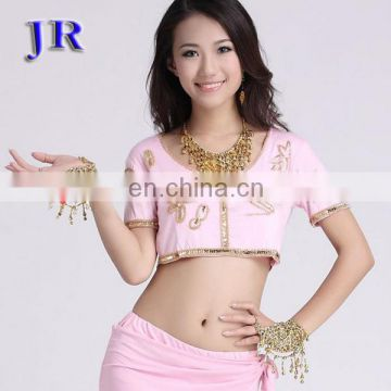 High mercerized cotton short sleeve belly dance wear top S-3010#