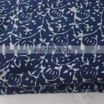 Indigo Fabric by 3 Yard, Hand Indian 100% Cotton Fabric, Blue/white 3 yard