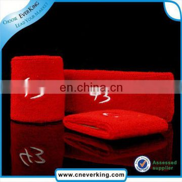 custom red embroidery terry cotton wristband factory wholesale