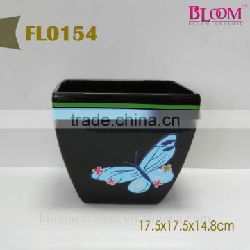 High quality ceramic flower pot with butterfly design