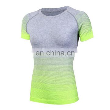 New Women Dry Quick Gradient color Tights Sport t Shirts