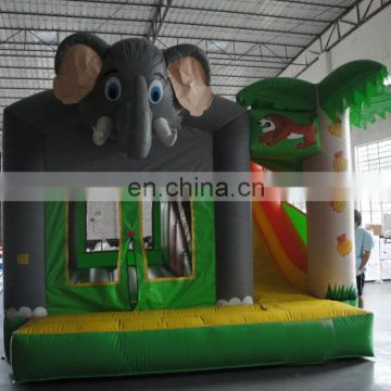 Palm tree with Elephant Cartoon Commercial Inflatable Bouncer Combo for Kids On Sale