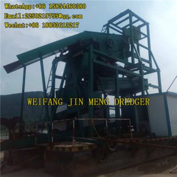 Portable 20 M Gold Mining Machinery Bucket Chain Gold Dredger