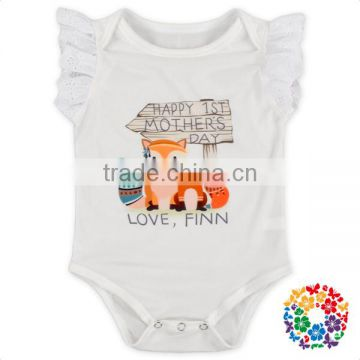 Wholesale White Animal Printing Customize Summer Romper Mother's Day Baby Girl Boho Romper