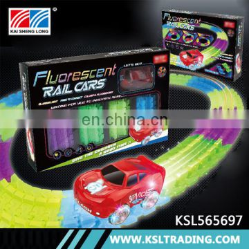 Glow in the dark electric kids fun track car toy for good sale