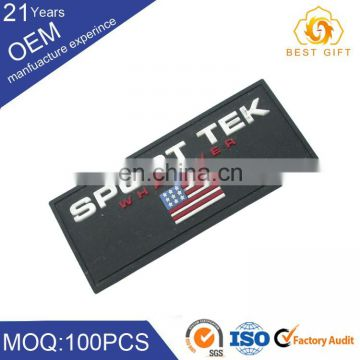 New Custom Embroidery PVC Rubber Badge On Garments Accessories