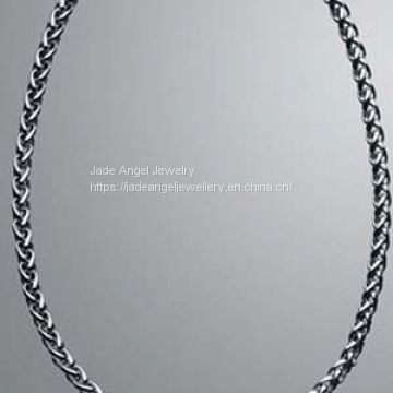 DY Sterling 925 Silver Pave Double Wheat Chain Necklace