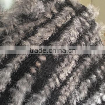 2016 newest hand made weaven rabbit fur shawl for lady