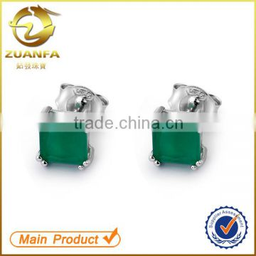 wholesale semi joias brincos rhodium plated square zirconia emerald stud earrings                                                                                                         Supplier's Choice