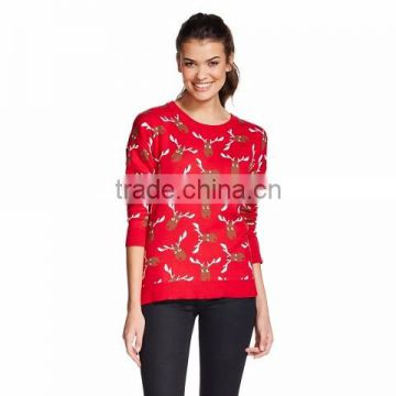 Women Red Sweater Allover Reindeer Head Pattern Knitted Christmas