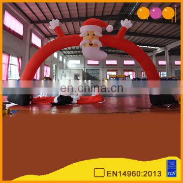 Christmas inflatable start finish arch Santa Claus race arch for sale