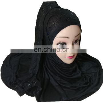 Scarf Hijab With Black Diamond Stone Work 2017 Collections / Women Casual Wear Scarves 2017 (printed scarf hijab)