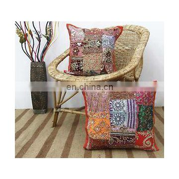 Indian Hand embroidered Cushion Covers cases decorative 17'' Patchwork Throw Pillow cover Cushion Cover ethnic art
