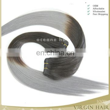 Silver color human hair ombre two tone indian remy gray colored hair