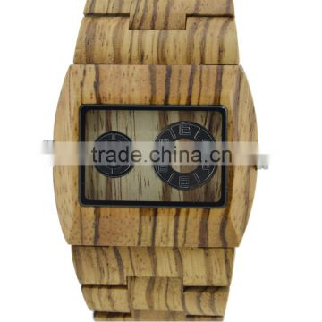mens square glass wooden watch two time zone new fashion watch